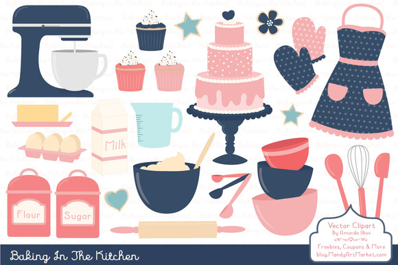 Navy Pink Baking Clipart