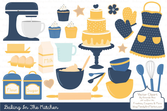 Navy Yellow Baking Vectors