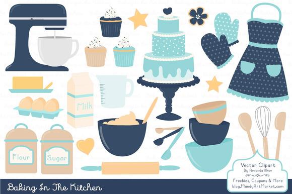 Blue Kitchen Baking Clipart
