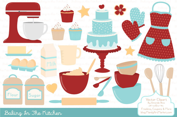 Retro Baking Clipart Vectors