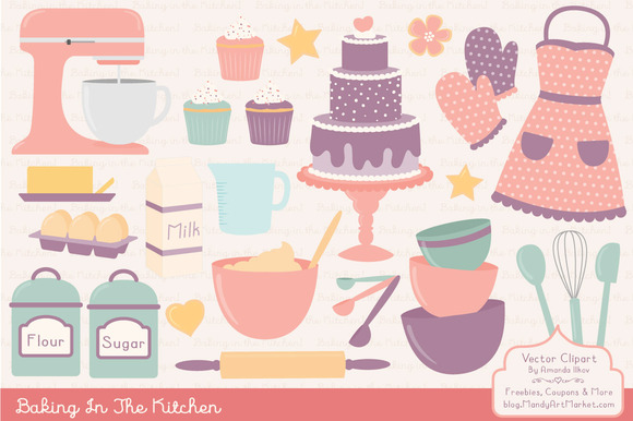 Vintage Baking Clipart Vectors