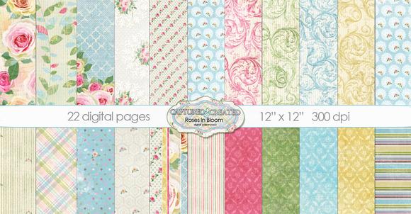 22 Roses In Bloom Digital Paper