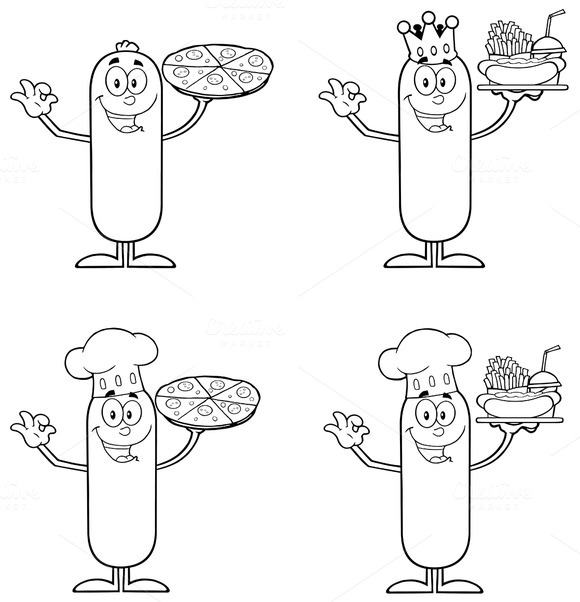 Outlined Sausage Collection