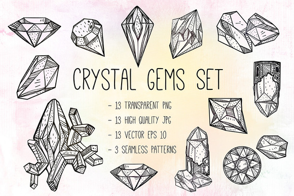 Crystal Gems Illustrations Set