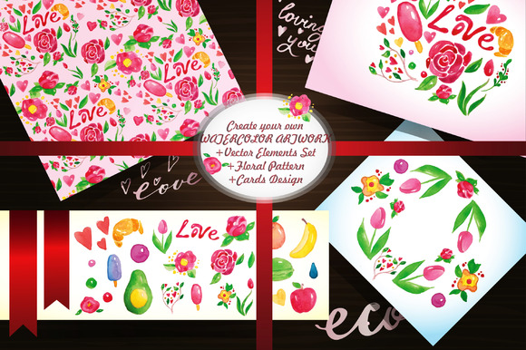 Watercolor Card Creation Set EPS-10