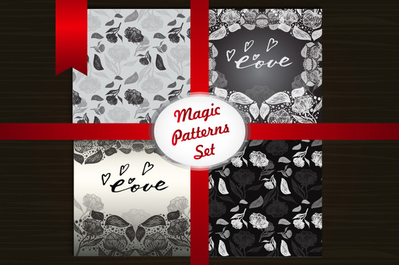 Magic Floral Patterns Set Vector Ar