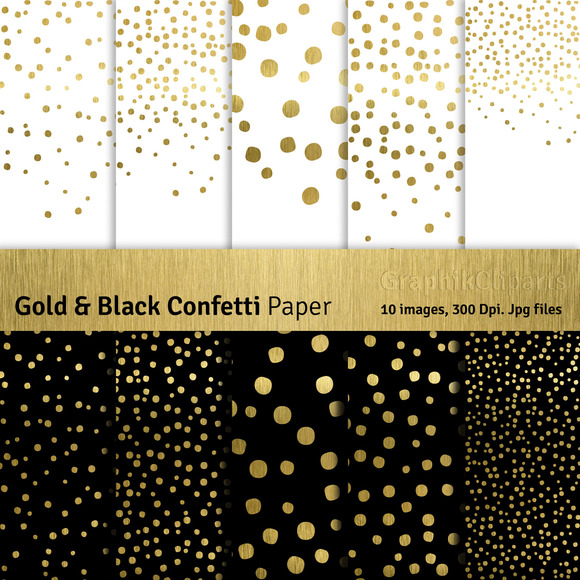 Gold Black Confetti