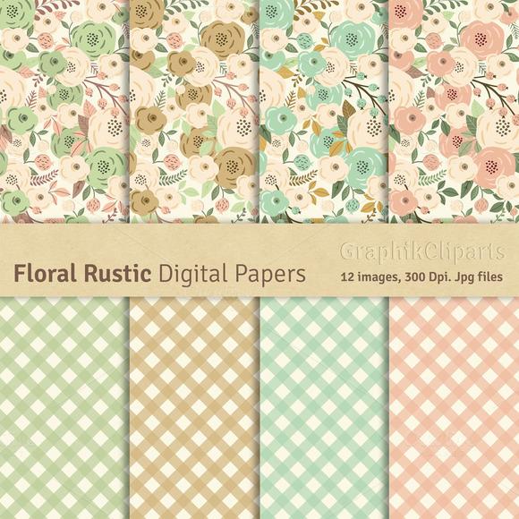 Floral Rustic Digital Papers