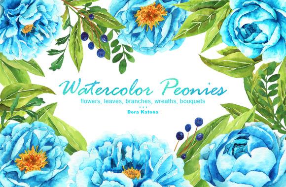Watercolor Blue Peonies