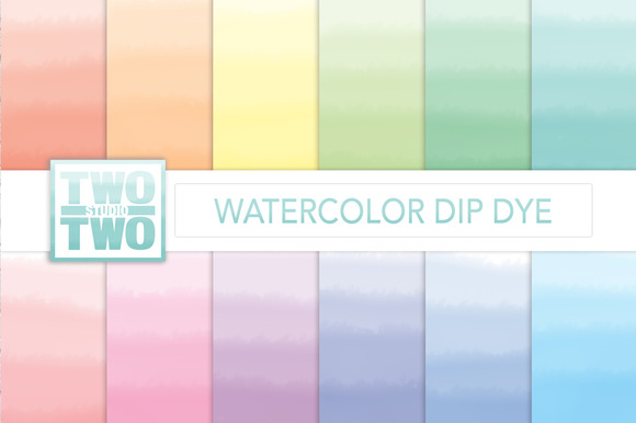 Watercolor Dip Dye Patterns