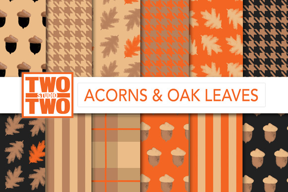 Acorns And Oak Leaves Fall Patterns