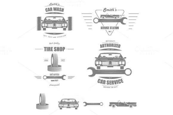 Set Of Car Services Badges
