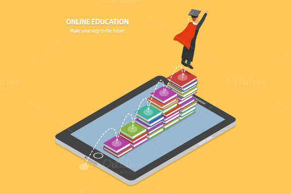 Online Education Isometric Concept