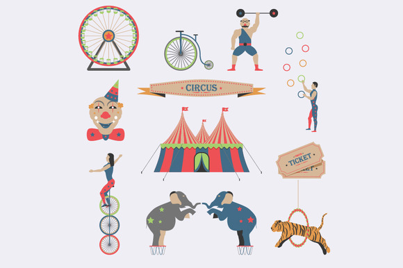Set Of Circus Flat Icons