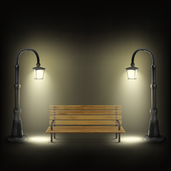 Bench Illuminated By Street Lamps