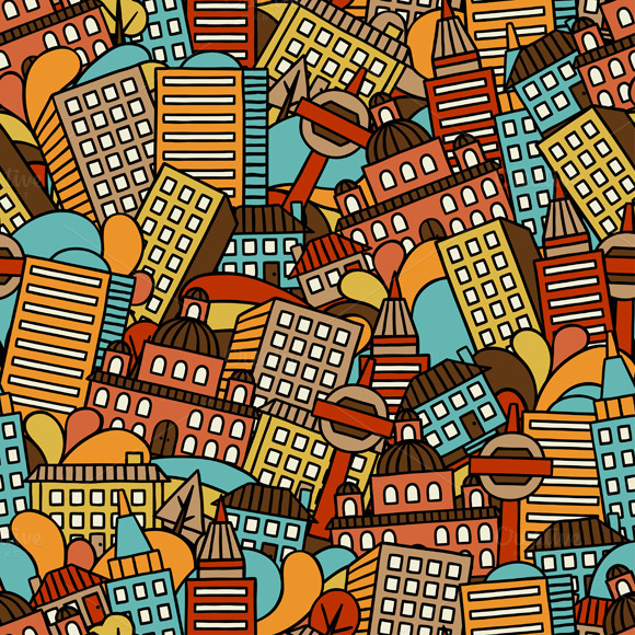 Town Seamless Patterns With Houses