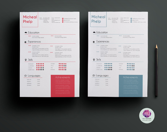 2 Color Options Resume Package