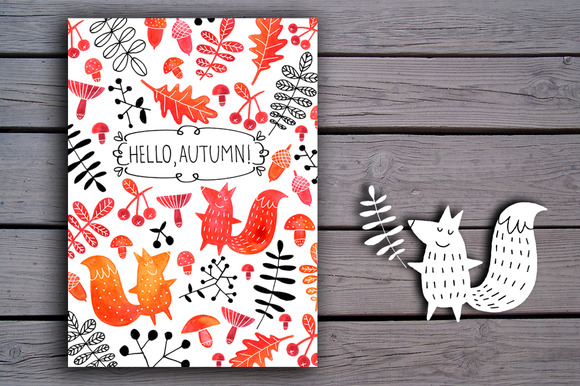 Autumn Watercolor Card Clipart