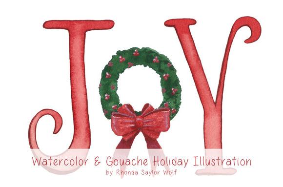 JOY Holiday Wreath Clipart