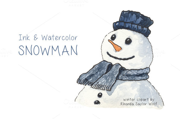 Ink And Watercolor Snowman Clipart