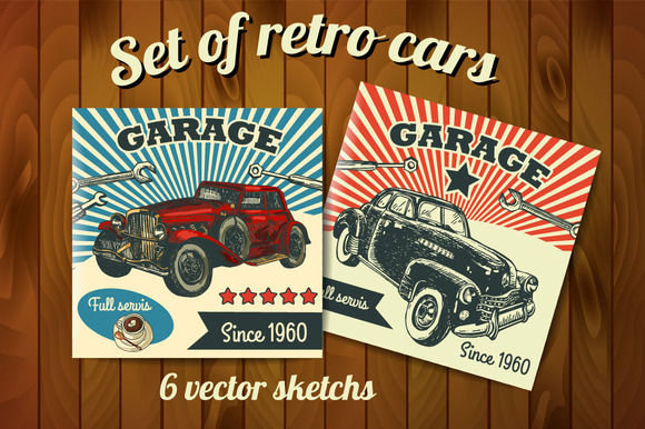 Set Of Vector Sketch Retro Cars