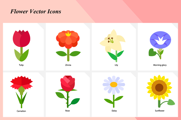 Flower Vector Icons Set