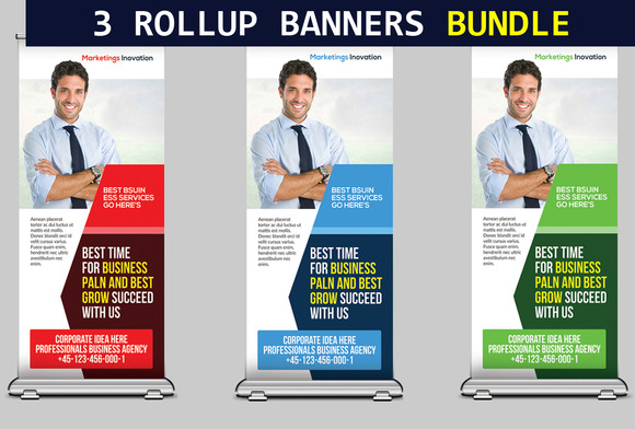 3 Business Rollup Banners Bundle