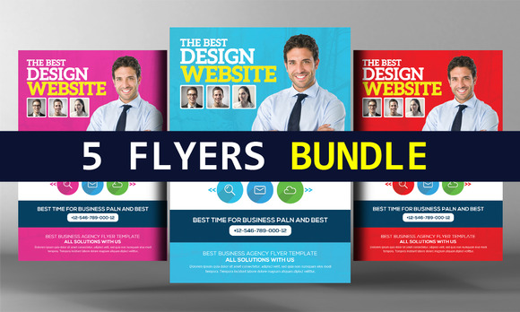 5 Website Design Agency Flyer Bundle