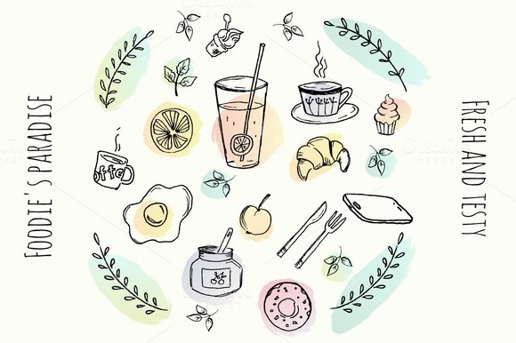 Vector Hand Drawn Food Elements