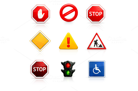 Road Signs Vector Icons