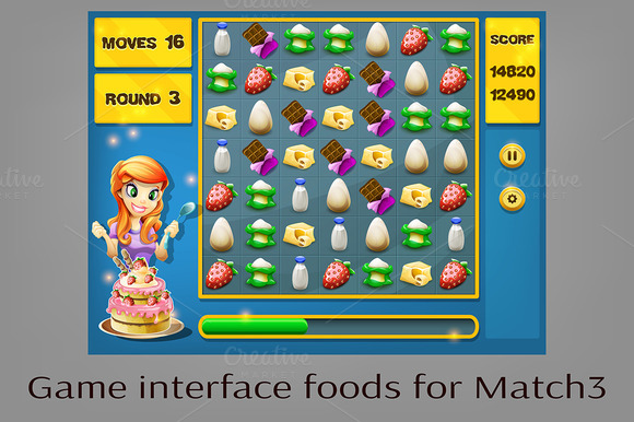 Game Interface Foods For Match3