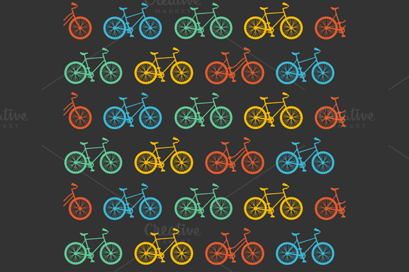 Vector Bicycle Seamless Pattern