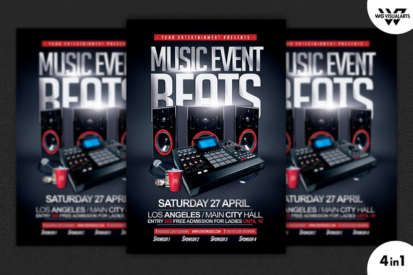MUSIC EVENT 4in1 Flyer Template
