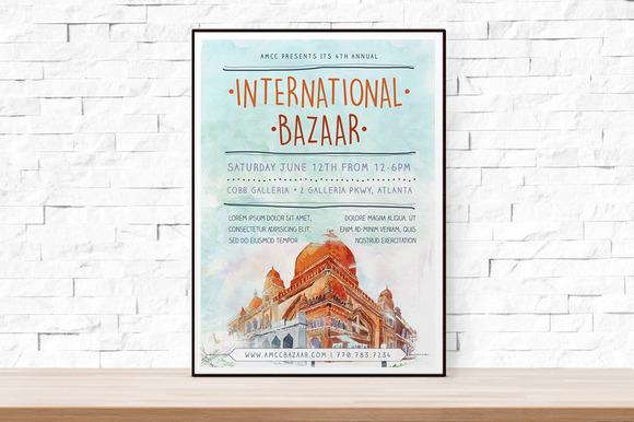 Watercolor Bazaar Flyer Template