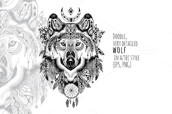 Textured Wolf In Aztec Style