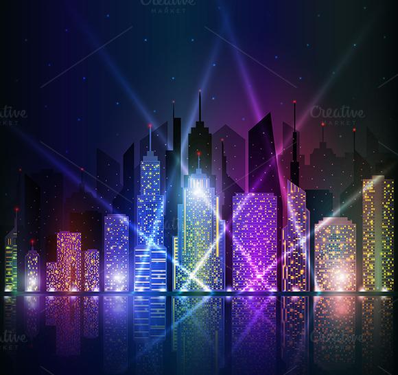 Colored And Bright Night Cityscape