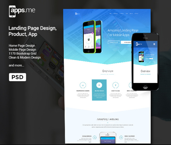 Appsme Landing Page PSD Template
