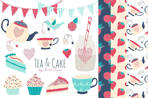Tea Cake Party Clipart Patterns