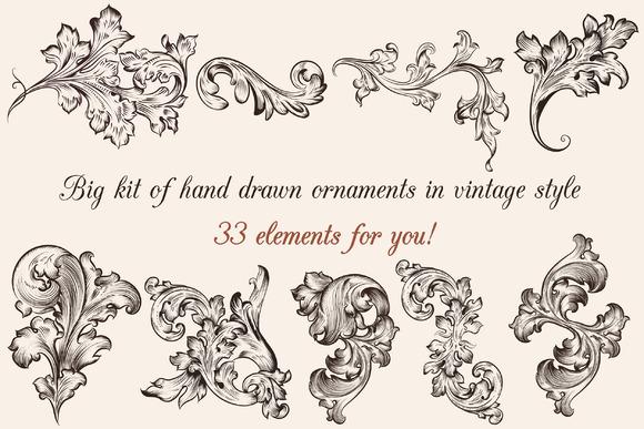 Big Set Of Engraved Ornaments