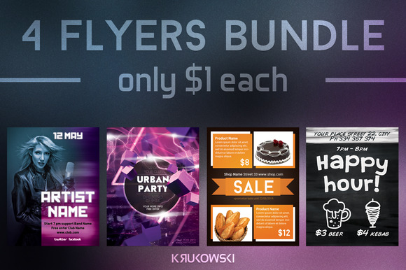 $1 Flyers Template Bundle Vol 4