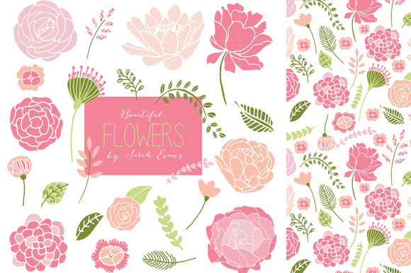 Pretty Pink Flowers Clipart Set