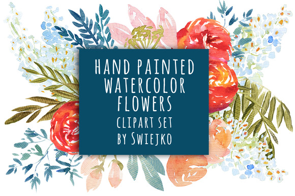 Watercolor Flowers Wedding Clipart