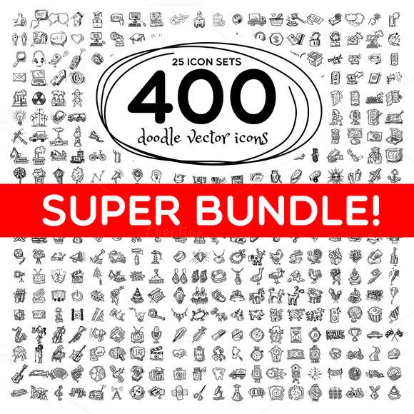 Super Bundle Of 400 Doodle Icons