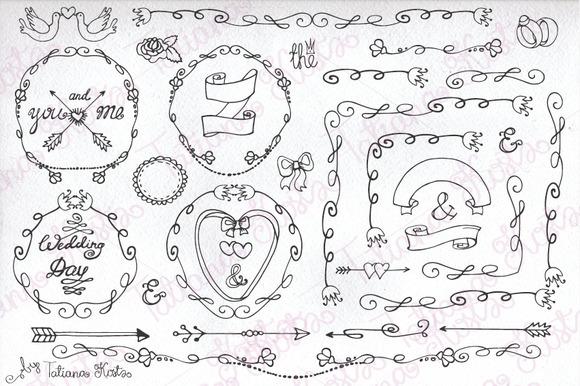 Doodle Wedding Decor.Mini Set 01