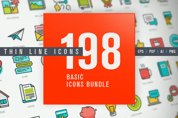 Set Of Thin Line Basic Icons Bundle
