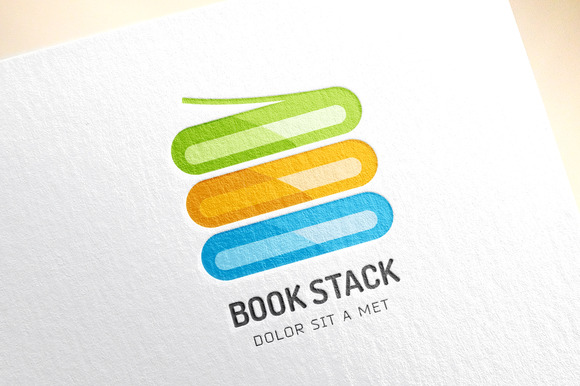 Abstract Colored Book Stack Logo