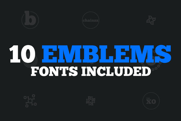10 Emblems Fonts Included 50% Off