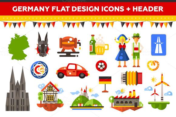 Germany Flat Design Icons Set