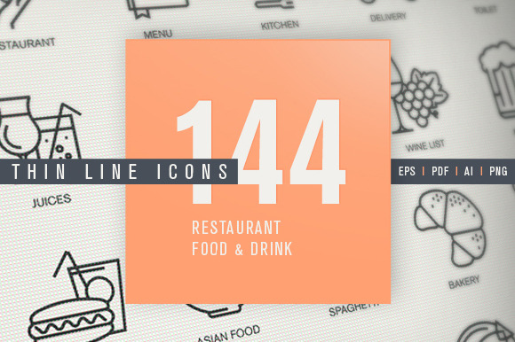 Thin Line Icons For Food Drink