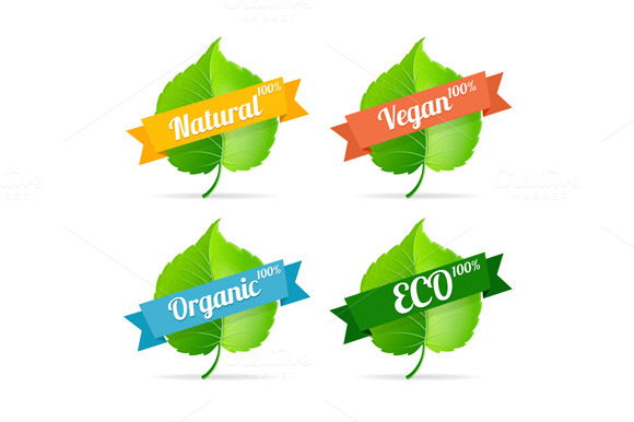 Vector Vegan Shop Labels Set